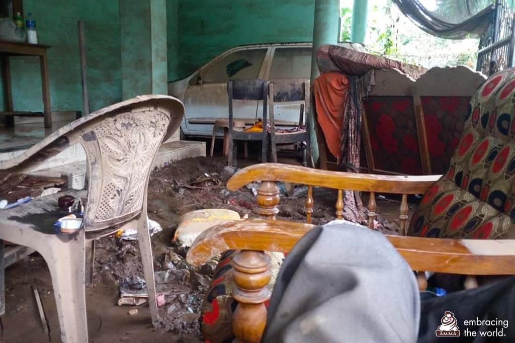 Von Hochwasser zerstörtes Haus in Kerala